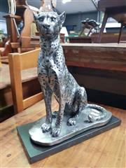 Sale 8672 - Lot 1055 - Silver Coloured Seated Leopard Figure