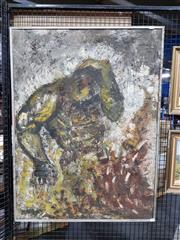 Sale 8686 - Lot 2059 - Maryn Haswell - Destruction of Man, 1966, oil on canvas, 102 x 76cm (frame size), signed lower left; inscribed verso