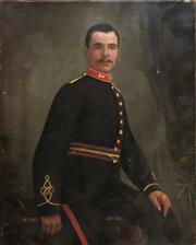 Sale 8853 - Lot 2025 - A Portrait of Late 19th Century Soldier by Unknown Artist, oil on canvas (AF), unsigned