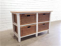 Sale 9112 - Lot 1025 - Timber chest of four wicker drawers