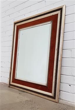 Sale 9129 - Lot 1058 - Timber framed bevelled edge mirror (100 x 85cm)