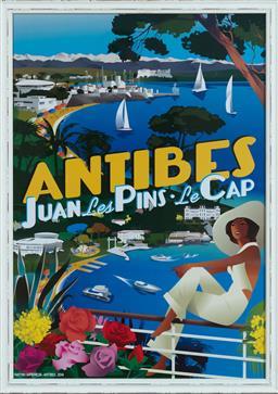 Sale 9134H - Lot 57 - Framed Poster of Antibes, Juan Les Pins - Le Cap, after Lionel Tarchala 71cm x 50cm