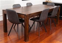Sale 9150H - Lot 8 - A contemporary elm Hudson dining table in a sleek brown finish, Height 76.5cm x Width 210cm x Depth 100cm