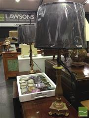 Sale 8412 - Lot 1042 - Pair of Brass Filigree Lamp  (5732)