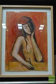 Sale 8495 - Lot 2008 - John Nearhos - Nude 64.5 x 45cm (frame size: 78 x 58.5cm)