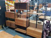 Sale 8822 - Lot 1005 - Extensive Ladderax Wall Mount Shelving System with 5 Cabinets and Various Shelves