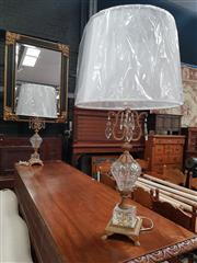 Sale 8868 - Lot 1032 - Pair Of Gilt Metal & Glass Urn Form Table Lamps, with prismatic drops & white pleated shades