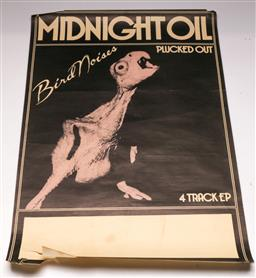 Sale 9136 - Lot 38 - Midnight Oil Bird Noises Original Tour Poster (68cm x 46cm) (some tears and frays to edges)