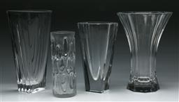 Sale 9148 - Lot 22 - A set of 4 glass vases inc Nachtmann and Orrefors (H tallest 27cm)