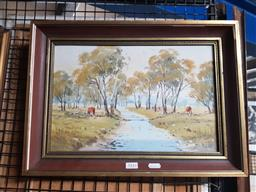 Sale 9155 - Lot 2043 - William OShea Bell Tributary, Bakers Swamp, 1980 oil on canvas board, frame: 33 x 46 cm signed and dated lower right -