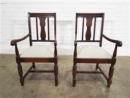 Sale 9191 - Lot 1034 - Pair of timber framed armchairs with cushion inserts (h:100 w:56 d:60cm)