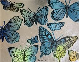 Sale 9214A - Lot 5008 - DAVID BROMLEY (1960 - ) Blue Butterflies acrylic and silver leaf on canvas 122 x 153 cm signed lower centre