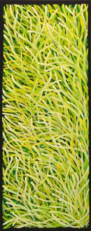 Sale 8321 - Lot 576 - Barbara Weir (c1945 - ) - Grass Seeds, 2014 153 x 58cm (framed & ready to hang)