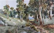 Sale 8578T - Lot 2017 - Jules Pierre De Leener (1873 - 1944) Tasmanian Country Scene Near Launceston, 1930, watercolour on paper, 32 x 52cm (image), 53 x...