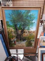 Sale 8686 - Lot 2084 - Artist Unknown - Watering Garden, oil on board, 92 x 70cm (frame size), initialled MJ lower right