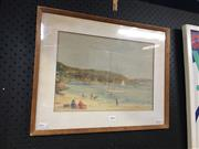 Sale 8716 - Lot 2096 - A. A. Baxter - Beach Scene, c1920s, watercolour, 24.5 x 35cm, signed lower right -