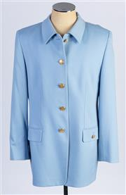 Sale 8926H - Lot 64 - A pure wool BASLER coat in powder blue with large gold buttons to front, size 42