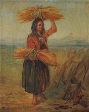 Sale 8938A - Lot 5085 - Artist Unknown (C20th) - Bundling Wheat 29.5 x 24 cm (frame: 38 x 33 x 4 cm)