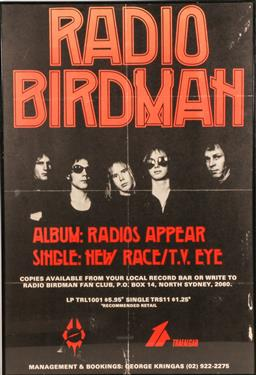 Sale 9136 - Lot 52 - Radio Birdman framed poster (83cm x 57cm) (Some wear)
