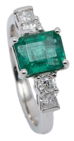 Sale 9160 - Lot 387 - A PLATINUM EMERALD AND DIAMOND RING; bead claw set with an emerald cut emerald of approx. 1.72ct to shoulders each set with a round...
