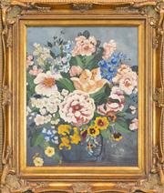 Sale 8297 - Lot 585 - William Fletcher (1924 - 1983) - A Vase Of Summer Blossoms 49 x 39cm