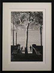 Sale 8734A - Lot 62 - Lynn Pearce - Morning Fishers at Thornton Park, East Balmain, 2014 61 x 46.5cm (frame size)