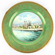 Sale 8795K - Lot 241 - A Minton hand-painted cabinet charger depicting the tower of London, signed A. Holland