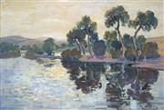 Sale 8821 - Lot 574 - Florence Broadhurst (1899 - 1977) - River Scene 38.5 x 57.5cm