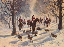 Sale 9116 - Lot 511 - John Tiplady (1938 - ) Hunters in the Snow, 1982 oil on canvas on board 44.5 x 60 cm (frame: 78 x 94 x 7 cm) signed and dated lower ...