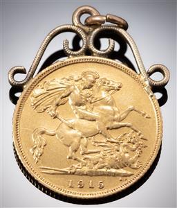 Sale 9153C - Lot 332 - A HALF SOVEREIGN COIN PENDANT; 1915 Sydney mint, with an 18ct gold surmount, wt. 4.79g.