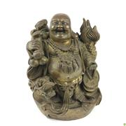 Sale 8562R - Lot 34 - Bronze Statue of Buddha with Sceptre and Dragons (H: 18cm)