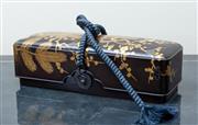 Sale 8562A - Lot 47 - C19th Japanese black lacquered document box, L 26cm