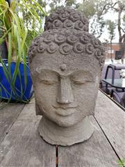 Sale 8601 - Lot 1239 - Large Lava Stone Buddha Bust (H: 51cm)