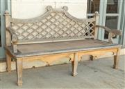 Sale 8745A - Lot 4 - A teak bench with lattice design to back, H 101 x W 180 x D 70cm