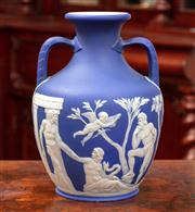 Sale 8804A - Lot 82 - A C19th Wedgwood blue jasper copy of the Portland vase, does have crack to body, height 27cm