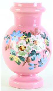 Sale 8985G - Lot 632 - Handpainted pink glass vase (H26.5cm)