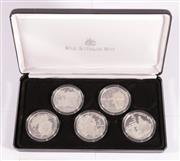 Sale 9035M - Lot 809 - Royal Australian Mint 1993 Masterpieces in Silver Colonial Australia sterling $5 proof coins set, cert. no.08505