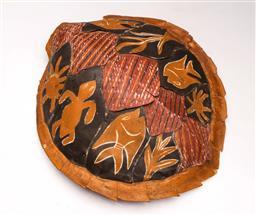 Sale 9122 - Lot 67 - Tiwi Islands painted turtle shell (L:35cm W:32cm)