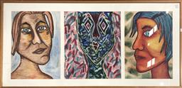 Sale 9139 - Lot 2061 - Artist Unknown Colourful Portraits mixed media on paper, 77 x 155cm, unsigned -