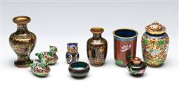 Sale 9156 - Lot 93 - A group of cloisonne wares inc small vases and animals (H tallest 11cm)
