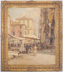 Sale 9123J - Lot 57 - European School, G Pipira (?) Merchants in the Market Place oil on canvas 60 x 50 cm signed lower right