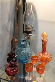 Sale 8369 - Lot 86 - Assortment of Glassware incl Carnival Drinks Suite, Kerosene Lamp, Water Jugs, etc (9)