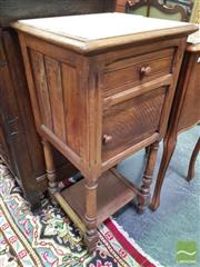 Sale 8416 - Lot 1015 - Early 20th Century French Oak Bedside Cabinet, with marble top, a drawer & panel door, above an open shelf