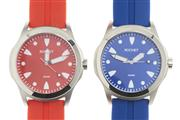 Sale 8442 - Lot 331 - TWO ROCHET 100M SPORTS WATCHES; in blue and red with sunburst dials, luminous markers and hands, subsidiary seconds water resistant...