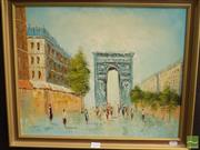 Sale 8513 - Lot 2028 - Artist Unknown - Paris Street Scene 39 x 49cm