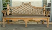 Sale 8745A - Lot 3 - A teak bench with lattice design to back, H 101 x W 180 x D 70cm