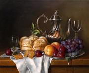Sale 8813 - Lot 510 - Jozef Kivits (1945 - ) - Fruit, Silver Coffee Pot, Bread and Speculaas Bisquietes 48.5 x 59cm