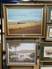 Sale 8914 - Lot 2050 - W.J Spencer - Lous point, oil on board, 57 x 72 cm, together with a harbour landscape painting