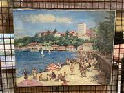 Sale 8936 - Lot 2020 - Victor Fox Manly Beach oil on canvas, 32 x 41.5cm, signed