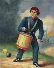 Sale 9001 - Lot 576 - Artist Unknown (C19th) - Union Drummer Boy 24.5 x 20 cm (frame: 32 x 27 x 2 cm)